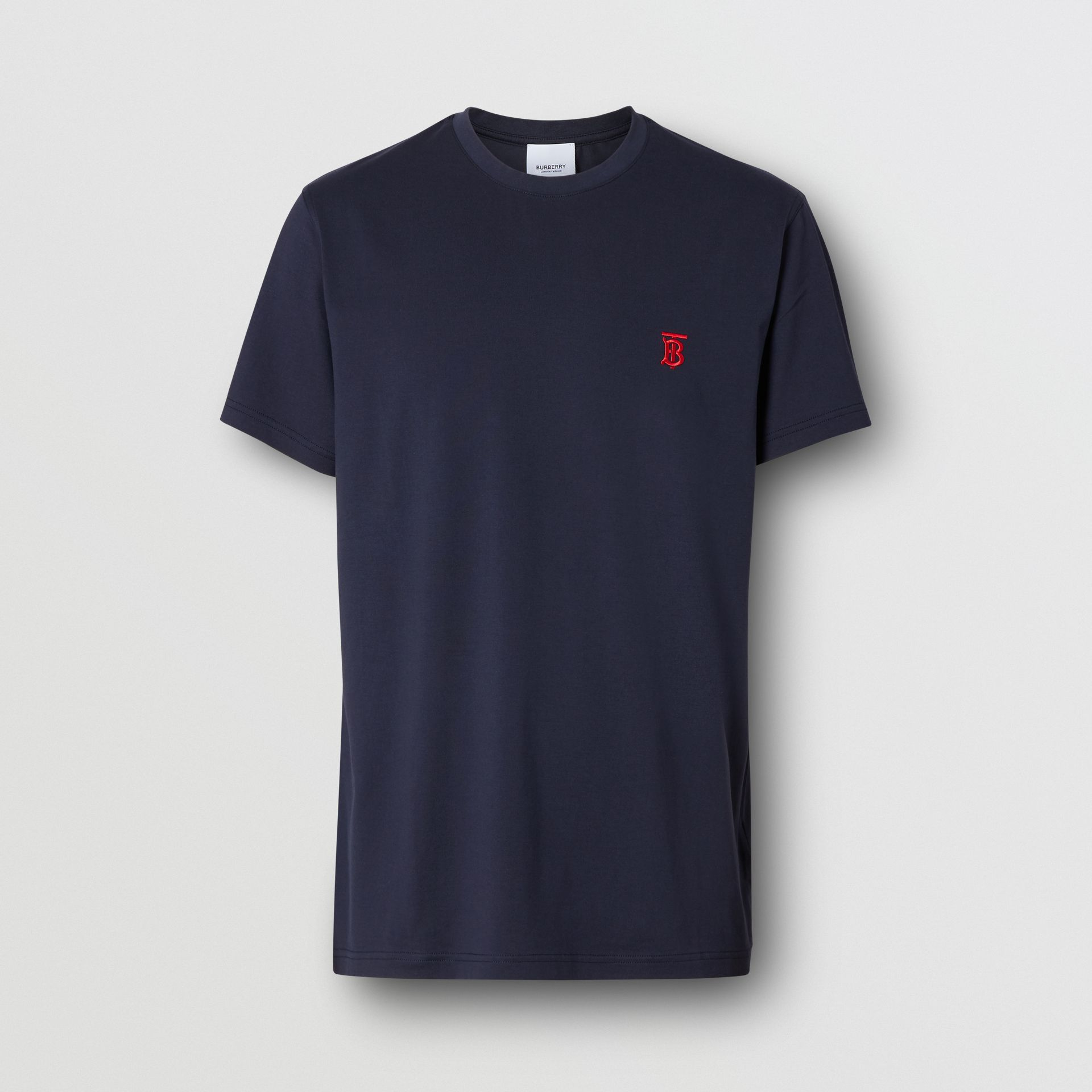 Monogram Motif Cotton T-shirt in Navy - Men | Burberry - gallery image 3