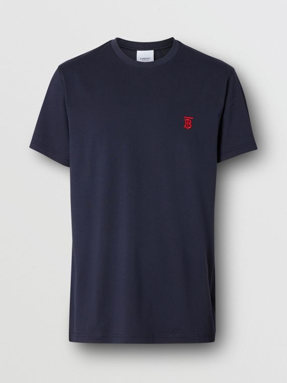Monogram Motif Cotton T-shirt in Navy