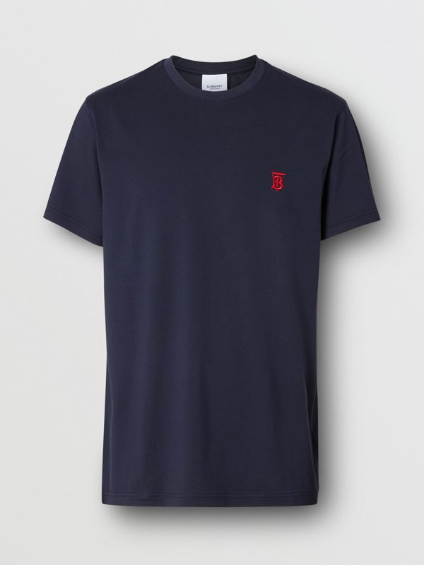 Monogram Motif Cotton T-shirt in Navy - Men | Burberry United Kingdom - cell image 3