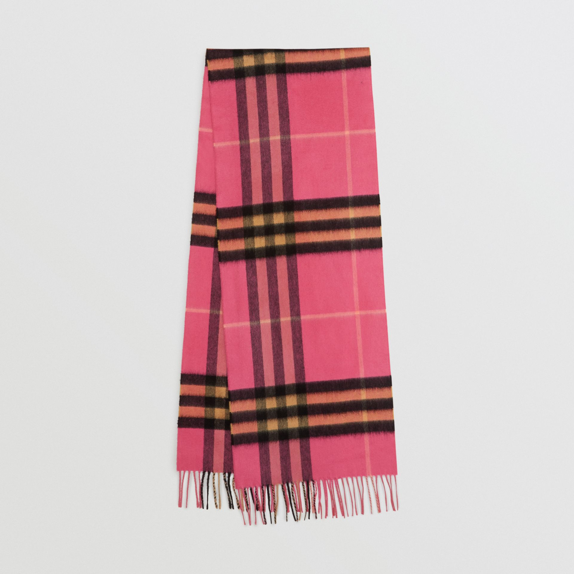The Classic Check Cashmere Scarf in Bright Rose | Burberry Singapore - gallery image 0