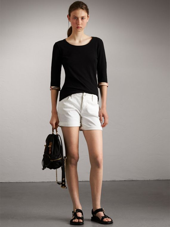 Check Cuff Stretch-Cotton Top in Black