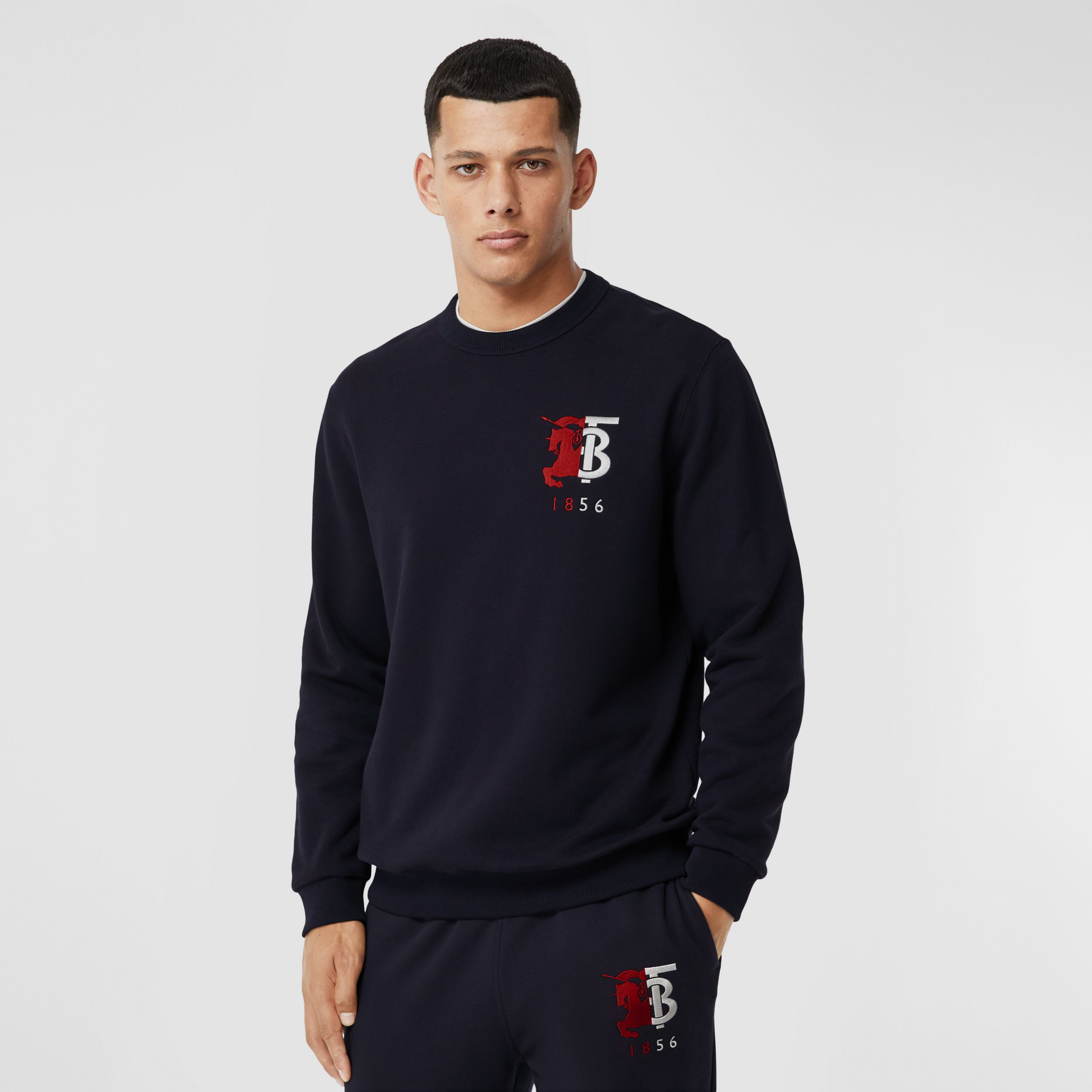 Contrast Logo Graphic Cotton Sweatshirt in Navy - Men | Burberry - 1