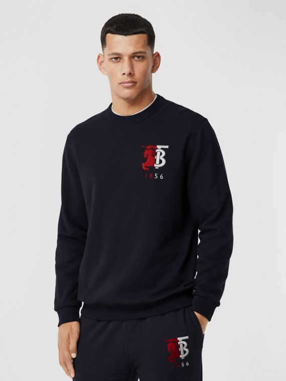Contrast Logo Graphic Cotton Sweatshirt in Navy