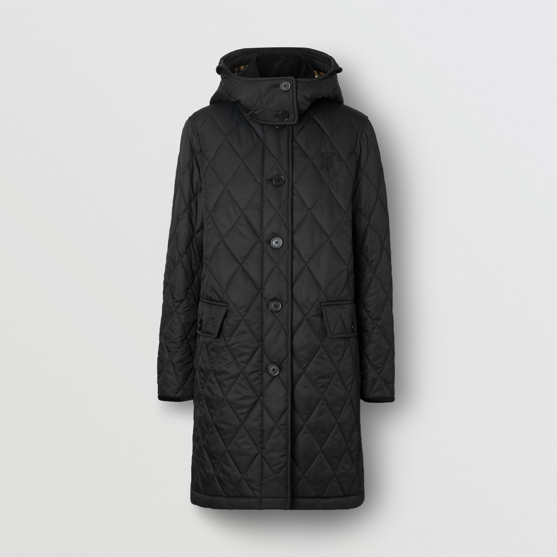Detachable Hood Monogram Motif Quilted Coat in Black - Women | Burberry - gallery image 3