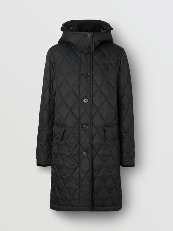 Detachable Hood Monogram Motif Quilted Coat in Black - Women | Burberry Australia - cell image 3