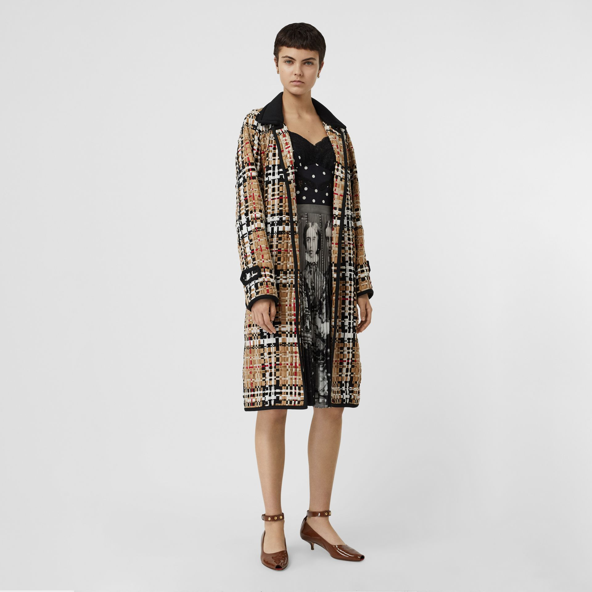 Check Basketweave Ribbon Coat in Archive Beige - Women | Burberry Australia - gallery image 0