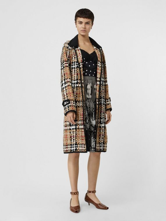 Check Basketweave Ribbon Coat in Archive Beige