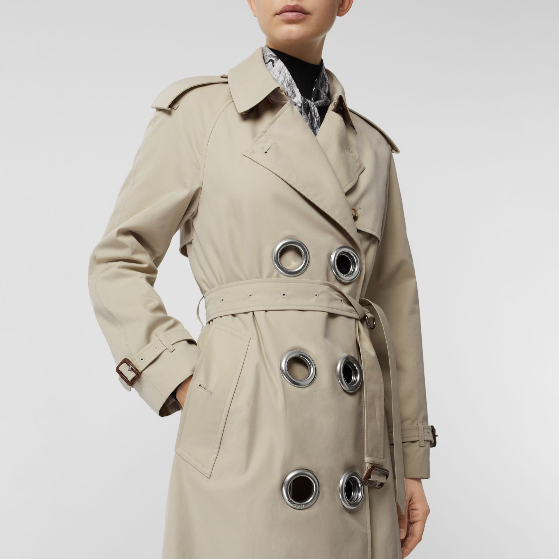 Grommet Detail Cotton Gabardine Trench Coat in Stone - Women | Burberry United Kingdom - gallery image 4