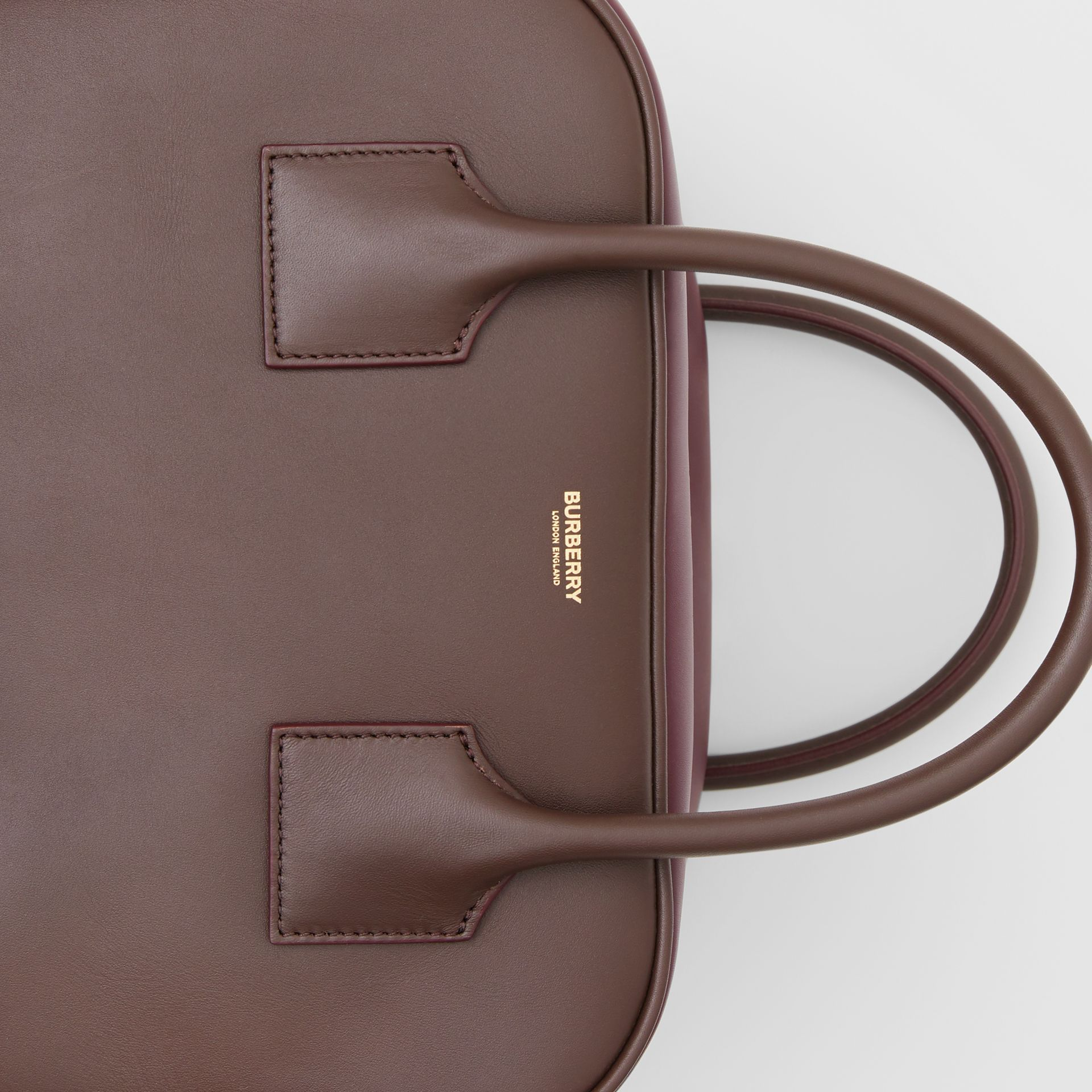 Medium Leather and Suede Cube Bag in Mahogany - Women | Burberry - gallery image 1