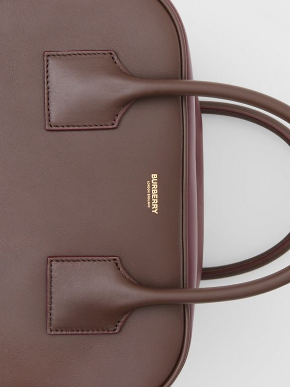 Medium Leather and Suede Cube Bag in Mahogany - Women | Burberry - cell image 1