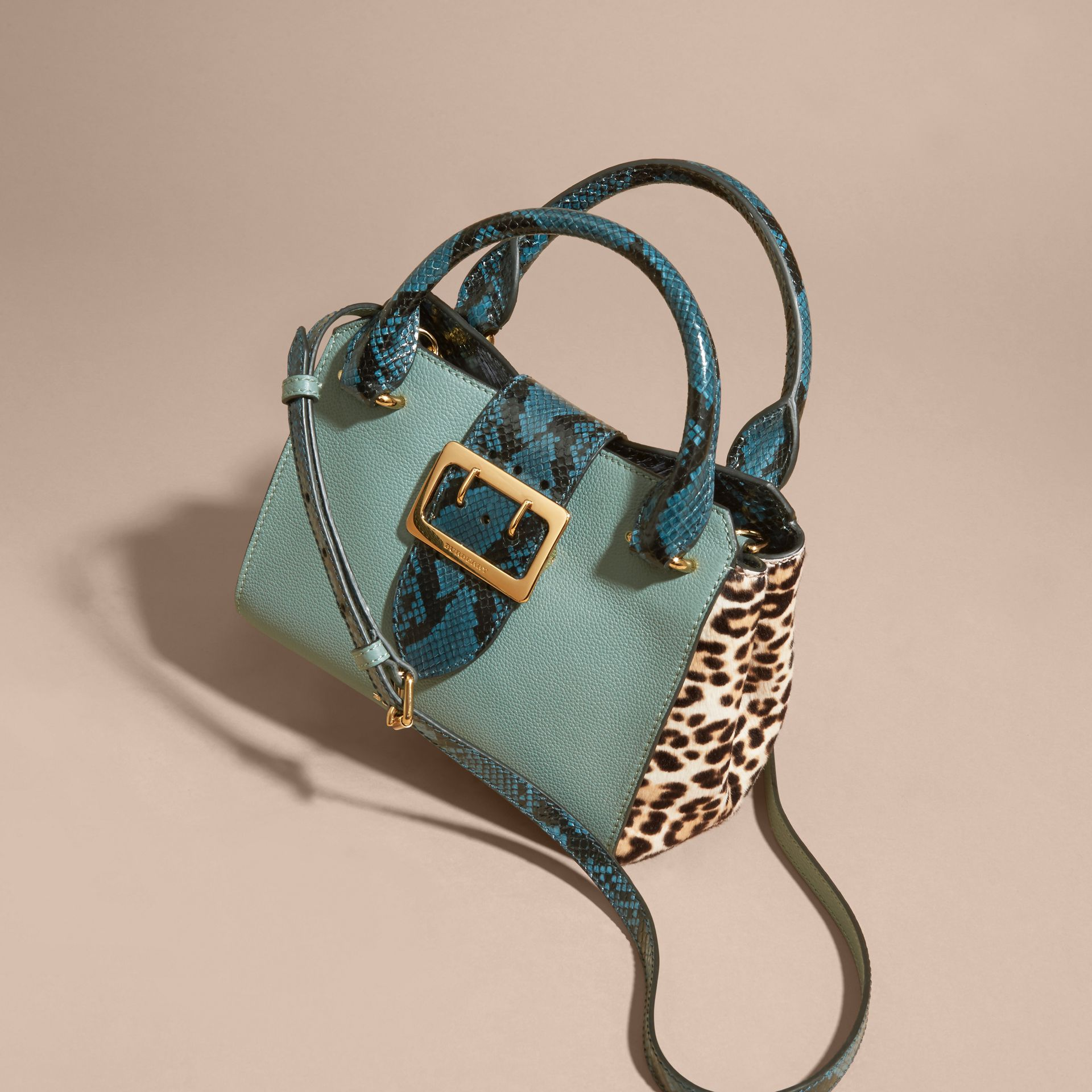 The Small Buckle Tote in Leather and  Leopard-print Calfskin in Eucalyptus Green - gallery image 8