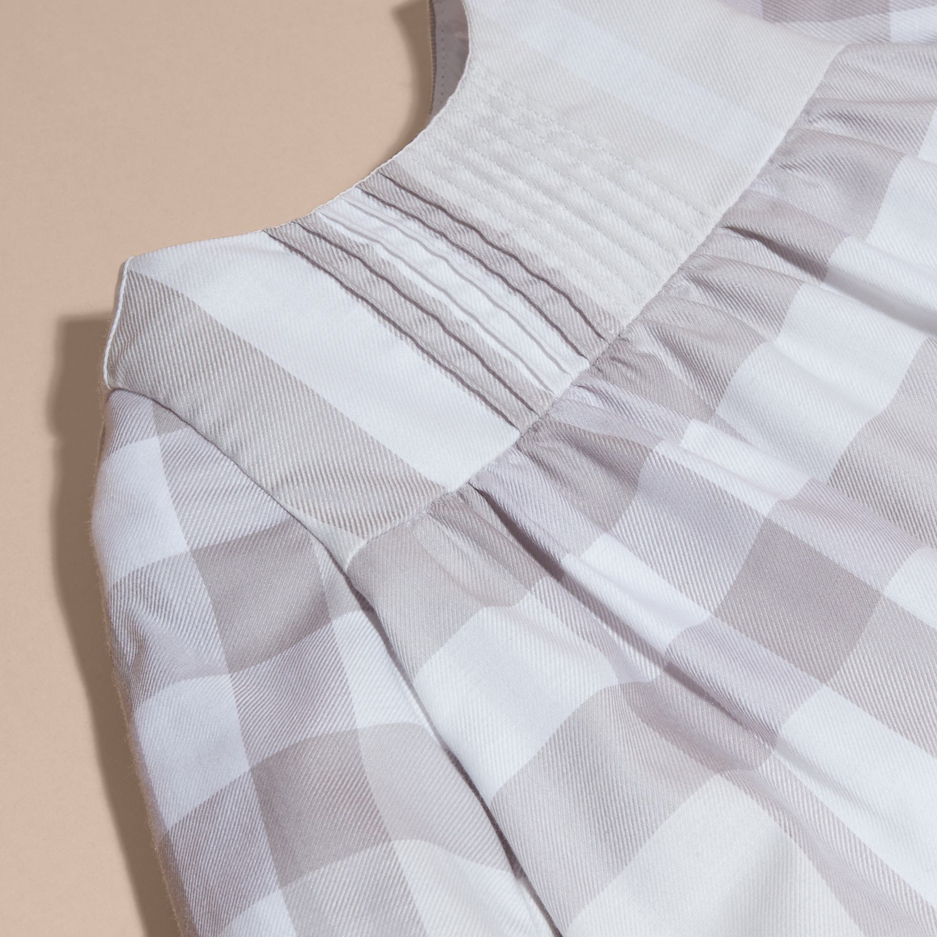 Pale grey Pintuck Detailed Washed Check Cotton Dress - gallery image 2