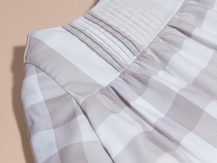 Pale grey Pintuck Detailed Washed Check Cotton Dress - cell image 1