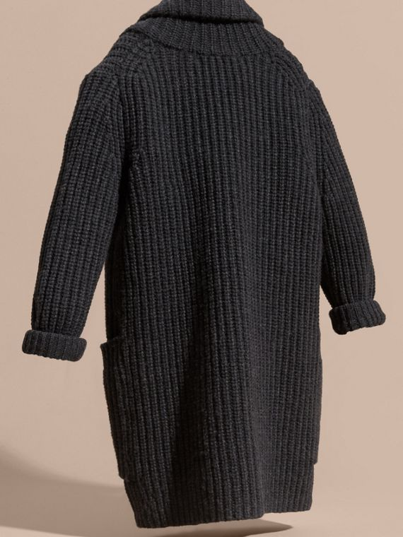 Charcoal melange Toggle Closure Wool Cashmere Cardigan - cell image 3