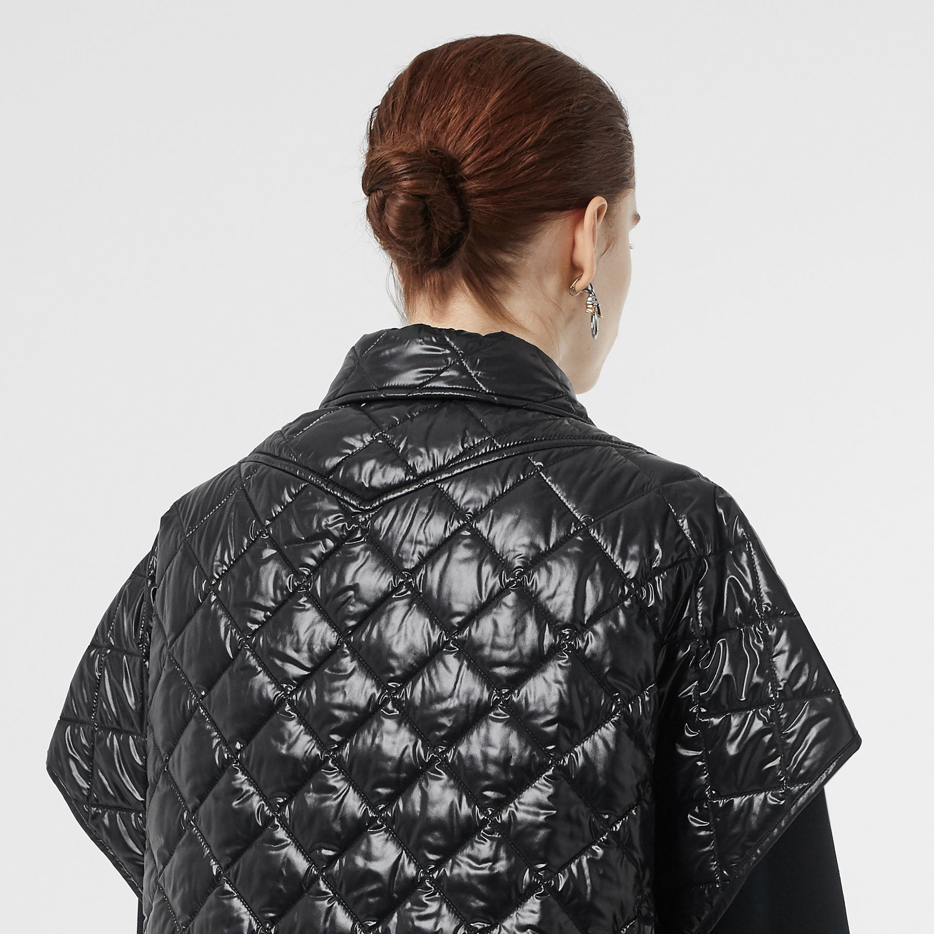 Detachable Hood Diamond Quilted Cape in Black - Women | Burberry - gallery image 1