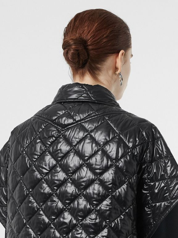 Detachable Hood Diamond Quilted Cape in Black - Women | Burberry - cell image 1