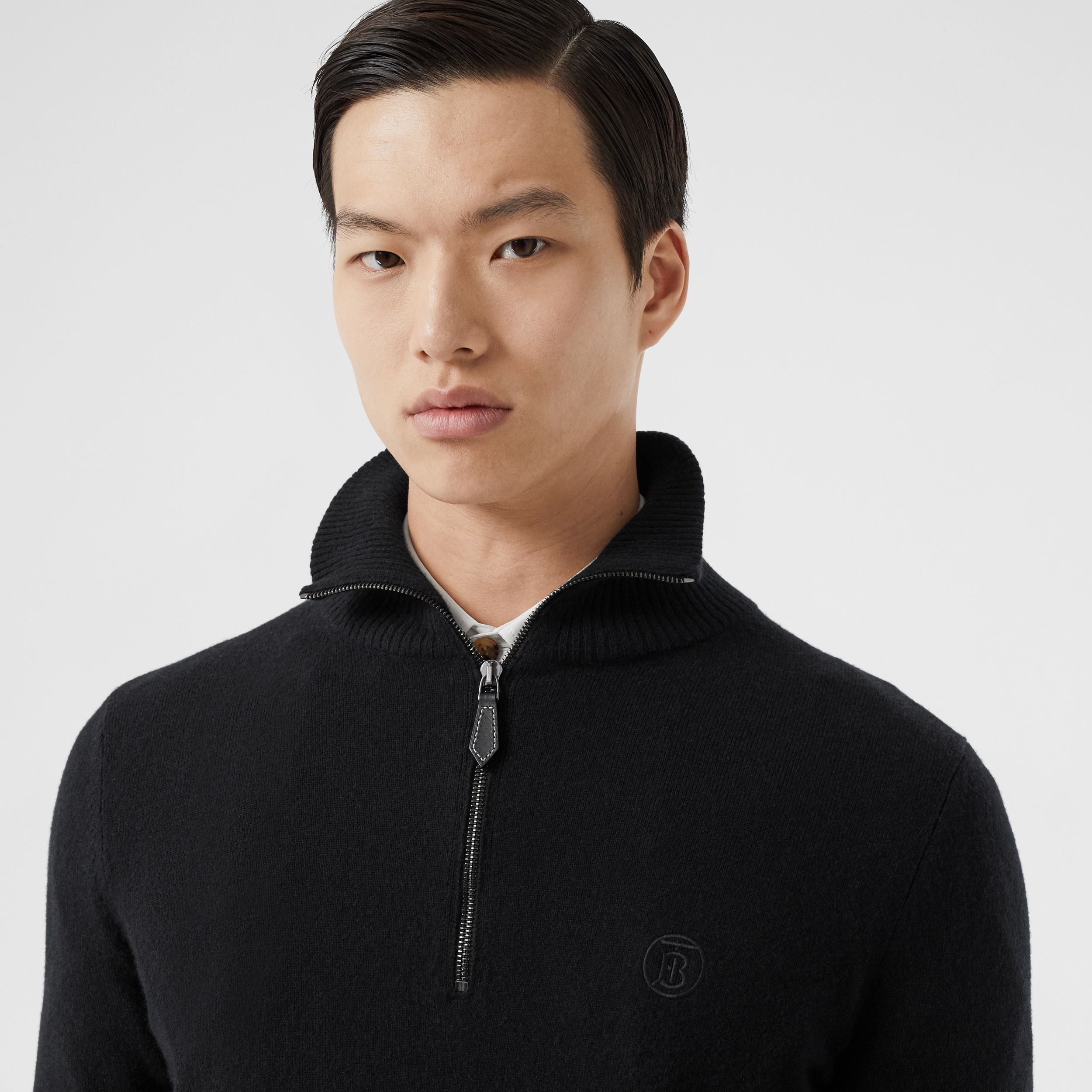 Monogram Motif Cashmere Funnel Neck Sweater in Black - Men | Burberry United Kingdom - 2