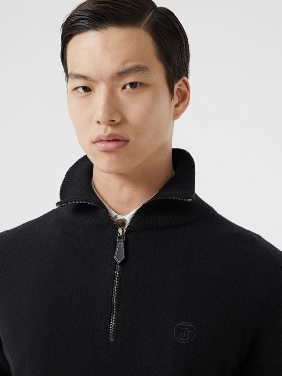 Monogram Motif Cashmere Funnel Neck Sweater in Black - Men | Burberry - cell image 1