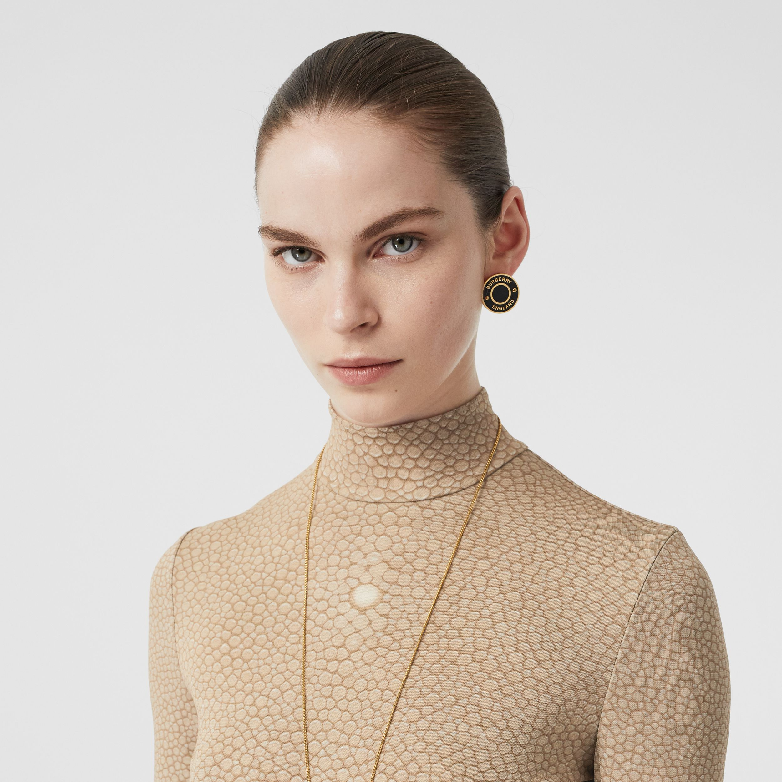 Fish-scale Print Stretch Jersey Turtleneck Top in Light Sand - Women | Burberry - 2