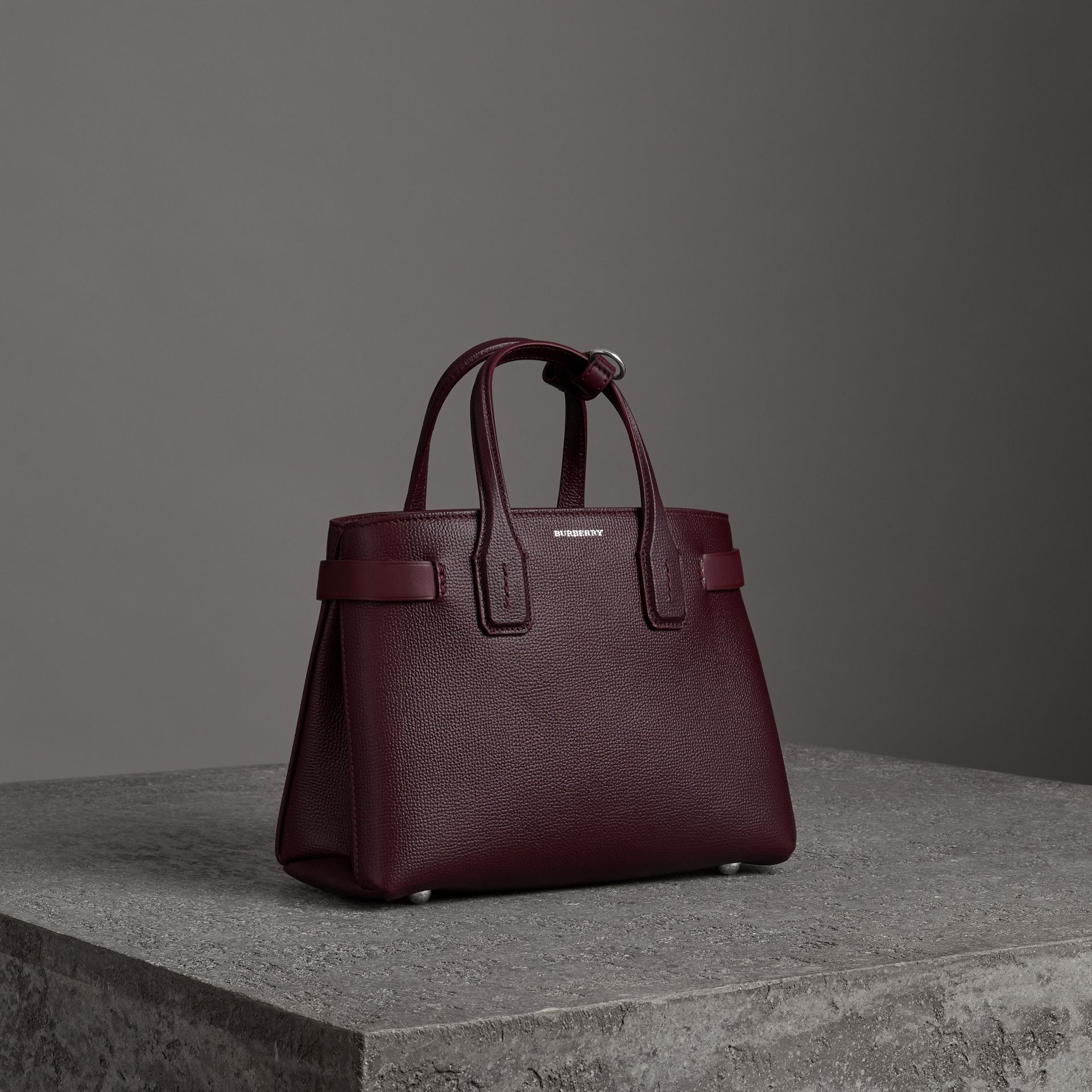 The Small Banner in Leather in Mahogany Red - Women | Burberry Australia - gallery image 0