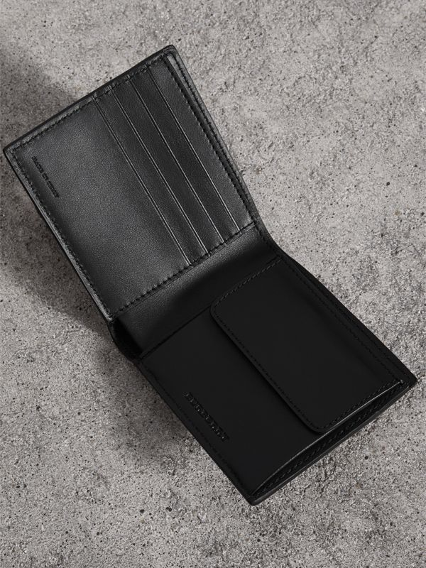 Vintage Check And Leather International Bifold Coin Wallet in Black - Men | Burberry - cell image 3