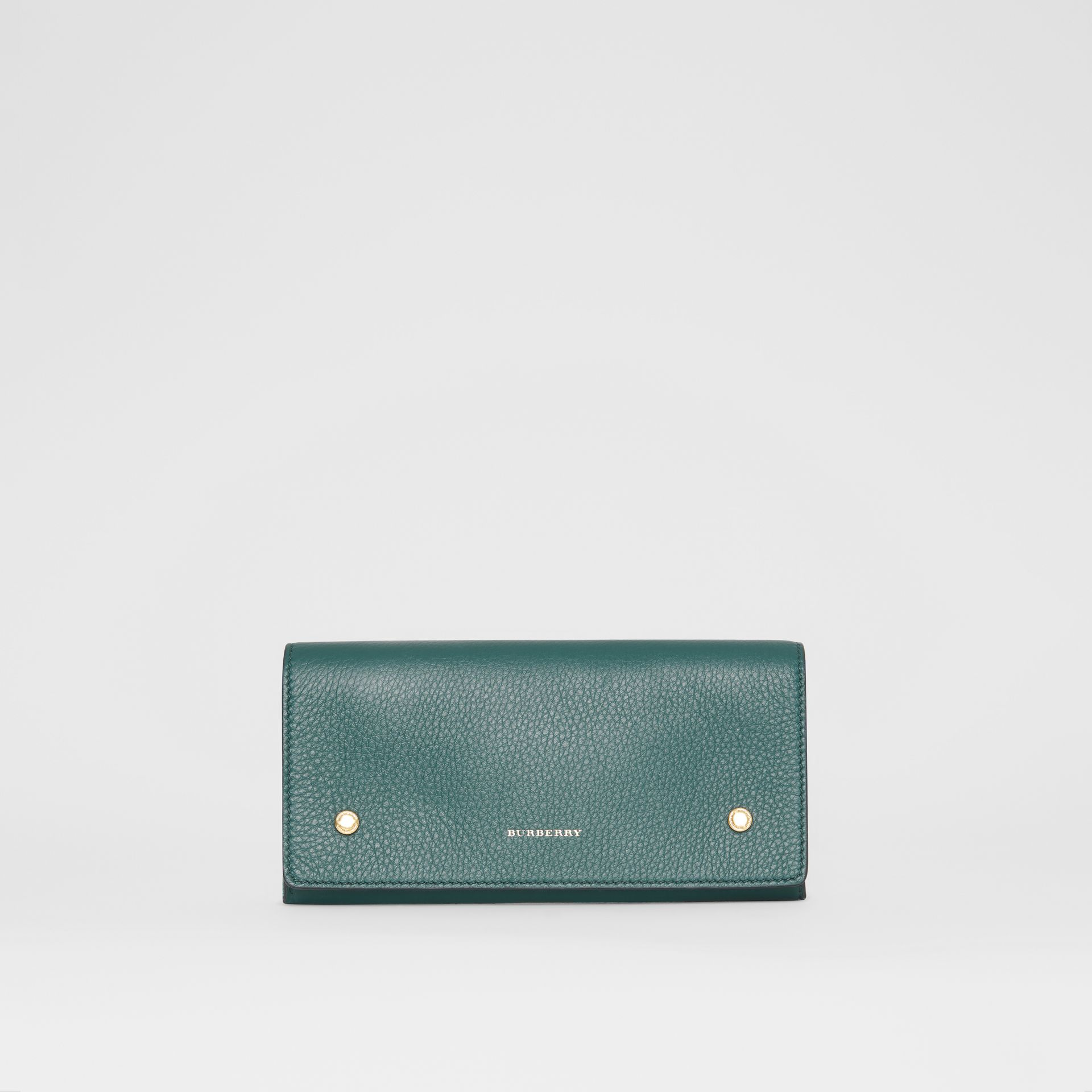 Two-tone Leather Continental Wallet in Dark Cyan - Women | Burberry United Kingdom - gallery image 0