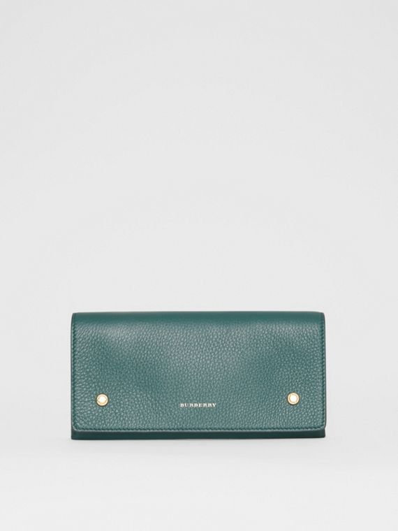 Two-tone Leather Continental Wallet in Dark Cyan