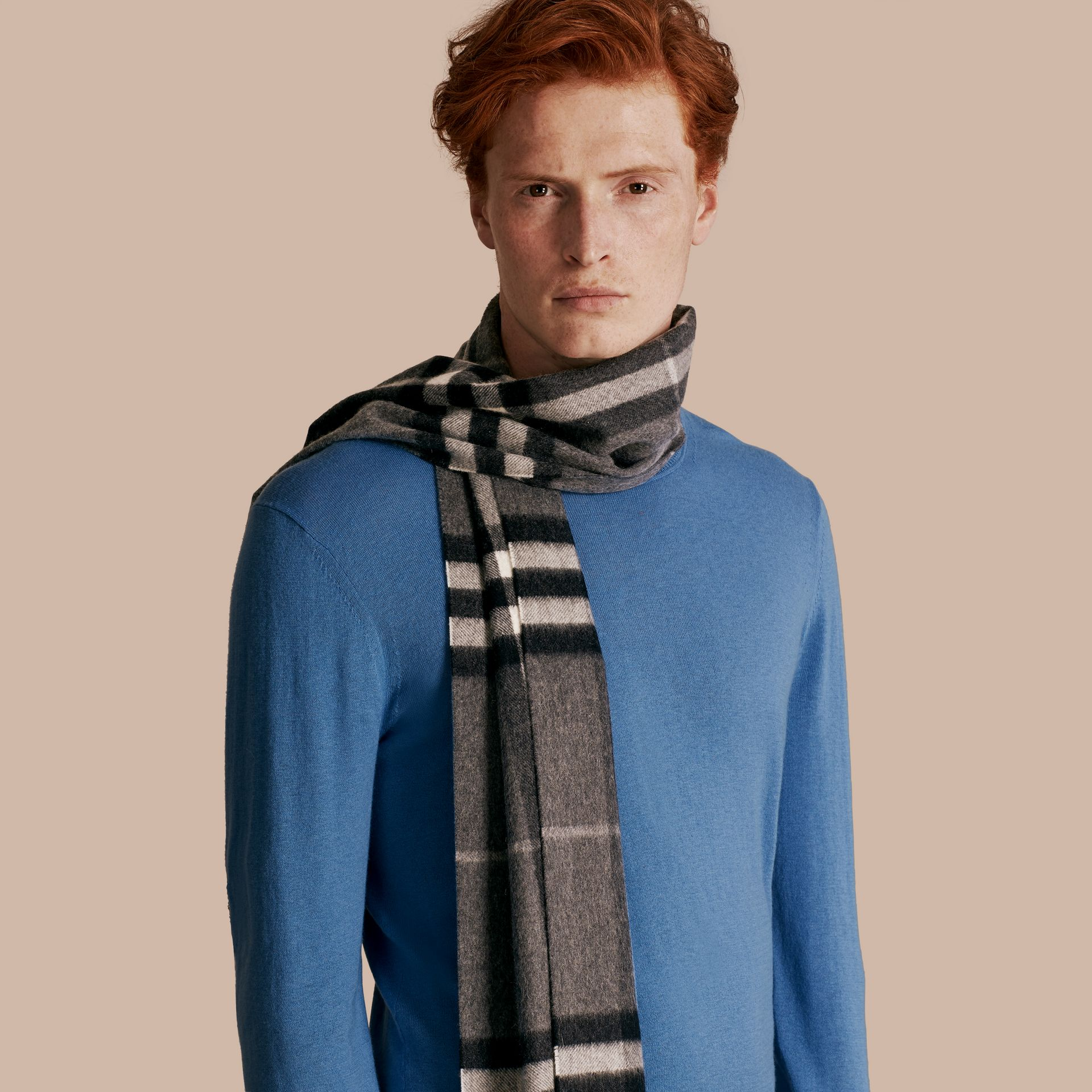 Mid grey The Classic Cashmere Scarf in Check Mid Grey - gallery image 3