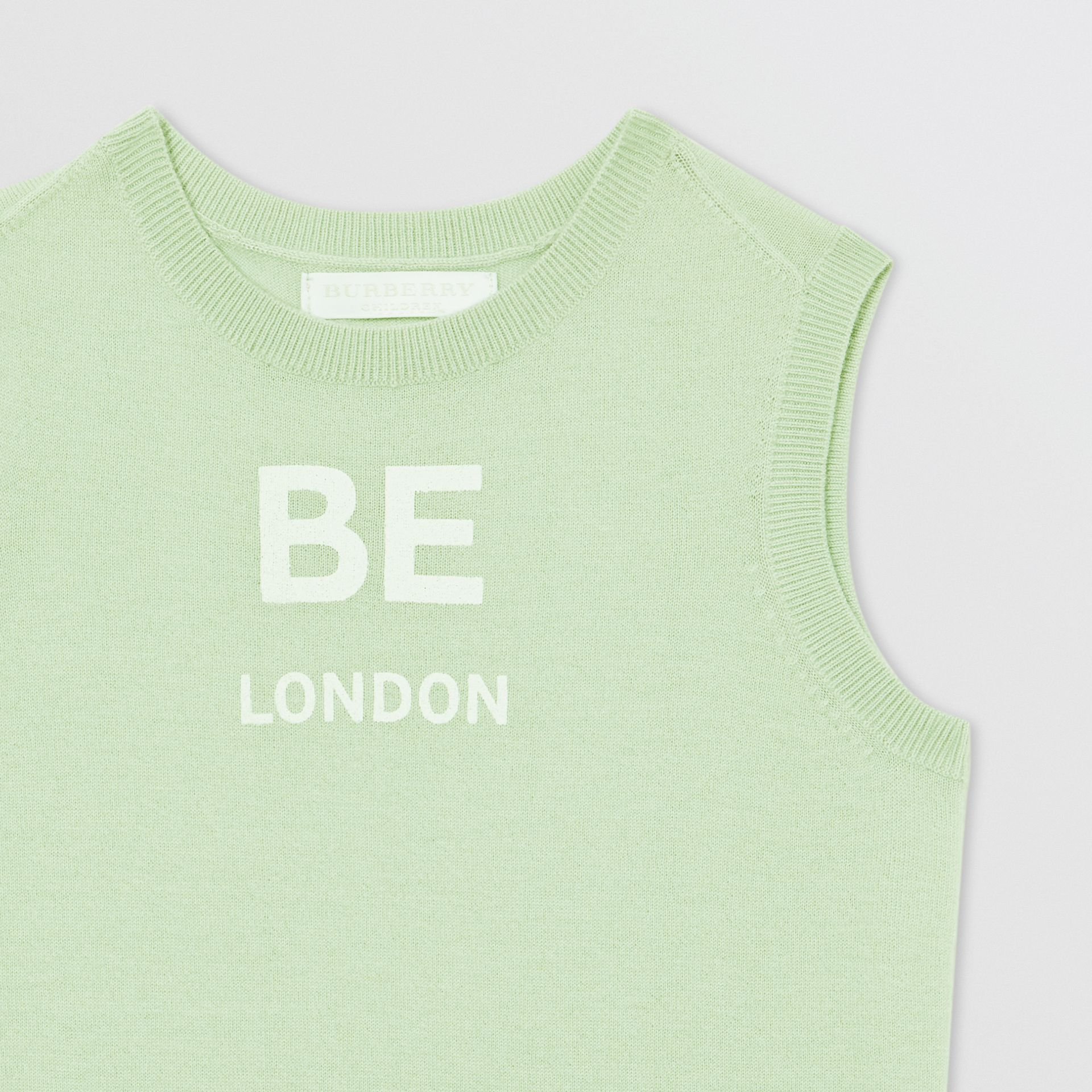 Logo Print Cashmere Two-piece Set in Pistachio | Burberry - gallery image 7