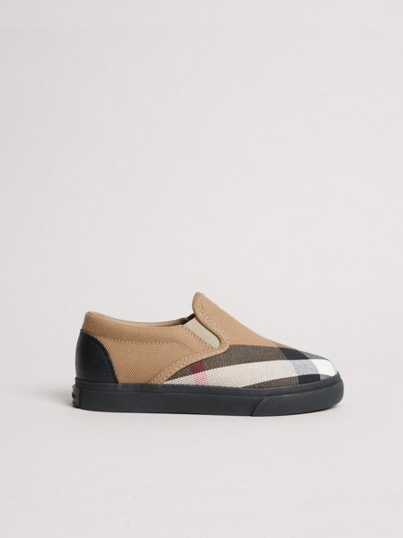 House Check and Leather Slip-on Sneakers in Classic/black | Burberry United Kingdom - cell image 3
