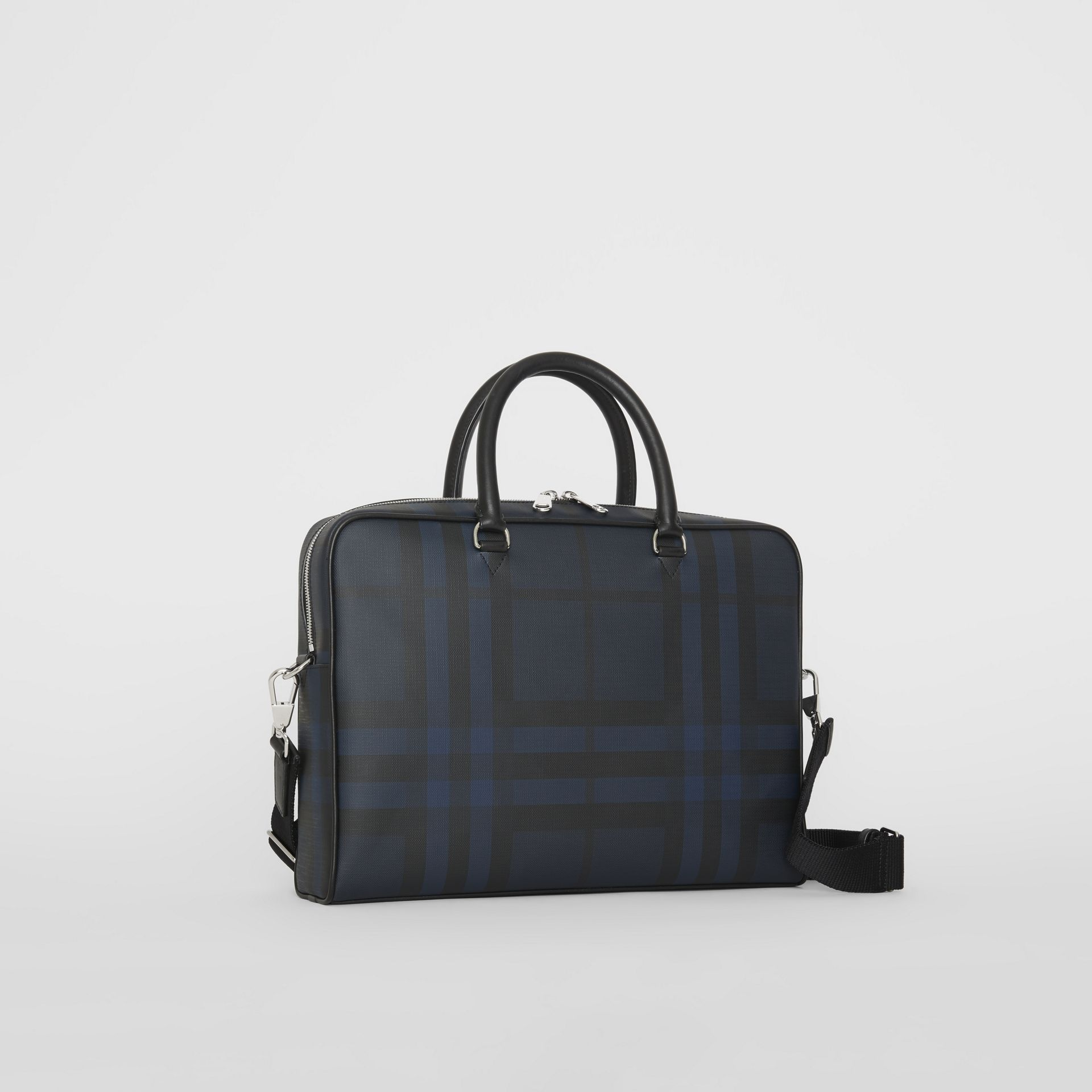 Large London Check Briefcase in Navy/black - Men | Burberry United States - gallery image 4