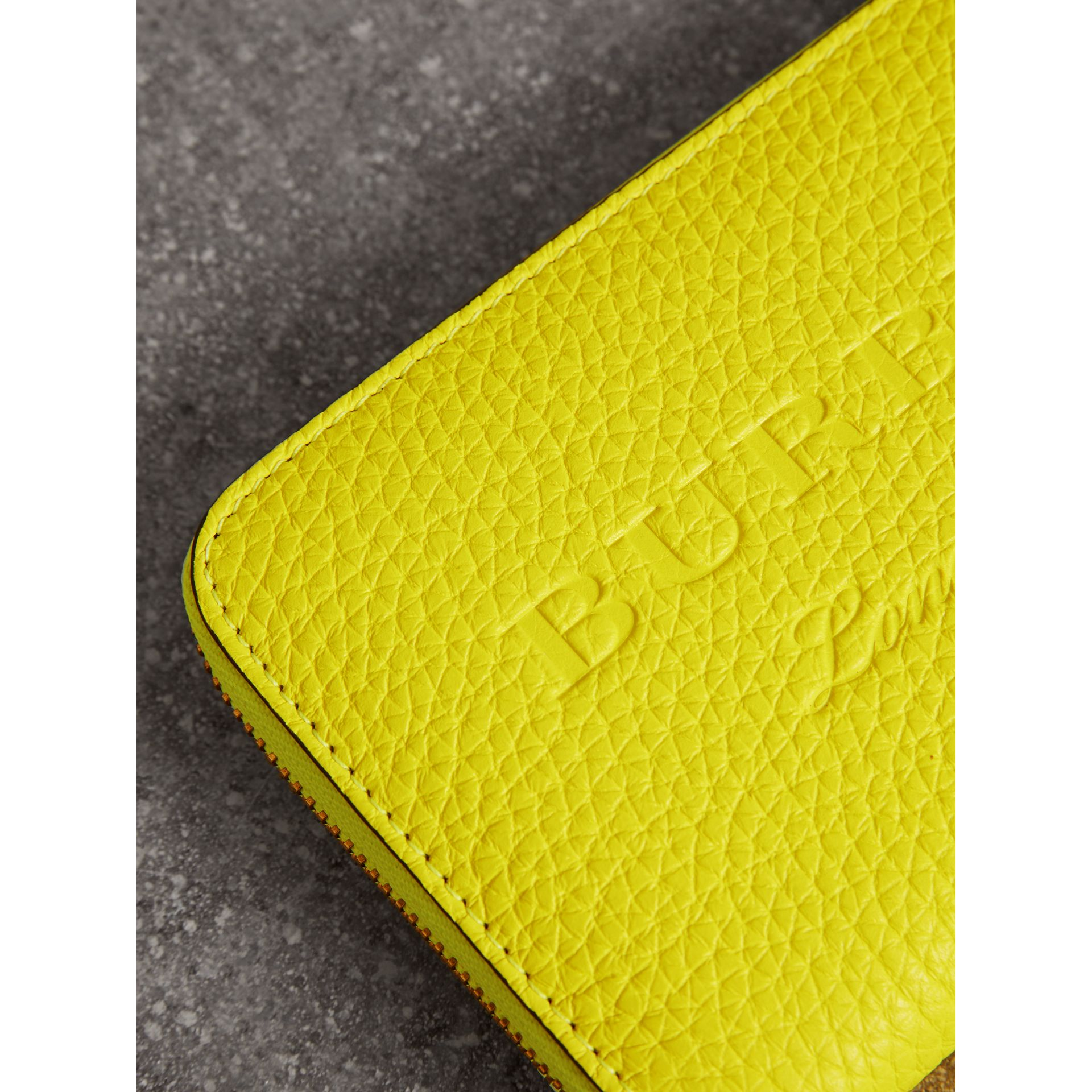 Embossed Leather Ziparound Wallet in Bright Yellow | Burberry - gallery image 1