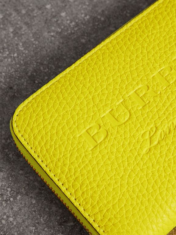 Embossed Leather Ziparound Wallet in Bright Yellow - Women | Burberry - cell image 1