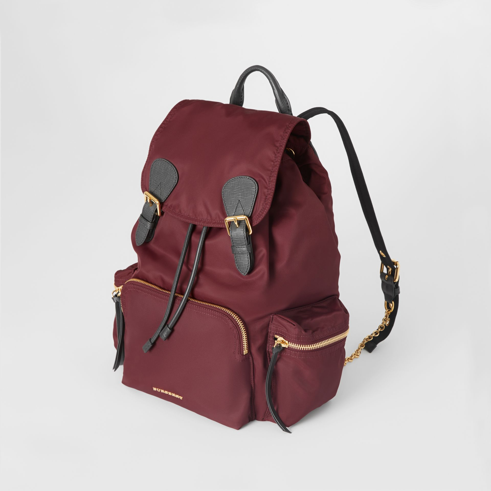 The Large Rucksack in Technical Nylon and Leather in Burgundy Red - Women | Burberry - gallery image 3