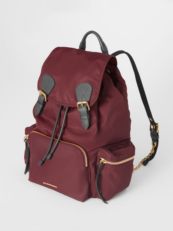 The Large Rucksack in Technical Nylon and Leather in Burgundy Red - Women | Burberry - cell image 3