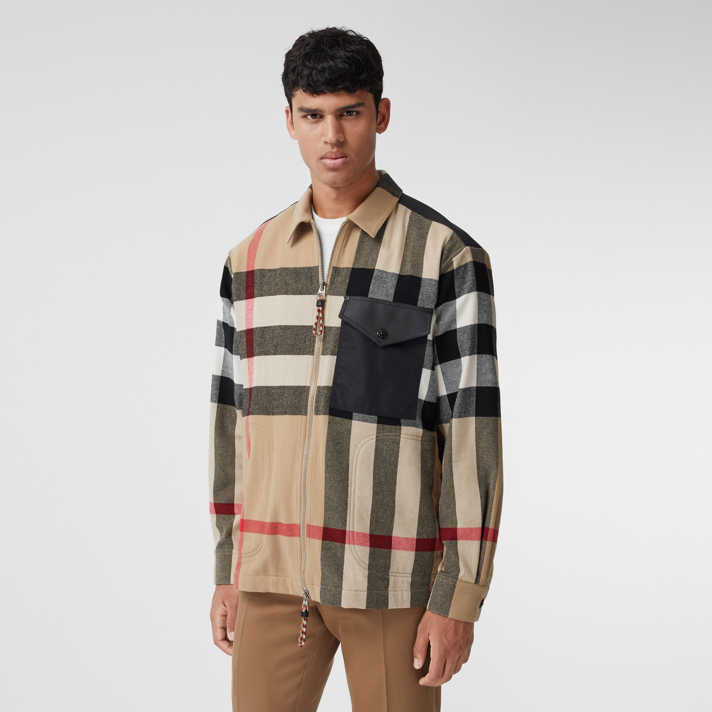 Contrast Panel Check Wool Cotton Shirt in Archive Beige - Men | Burberry - 1