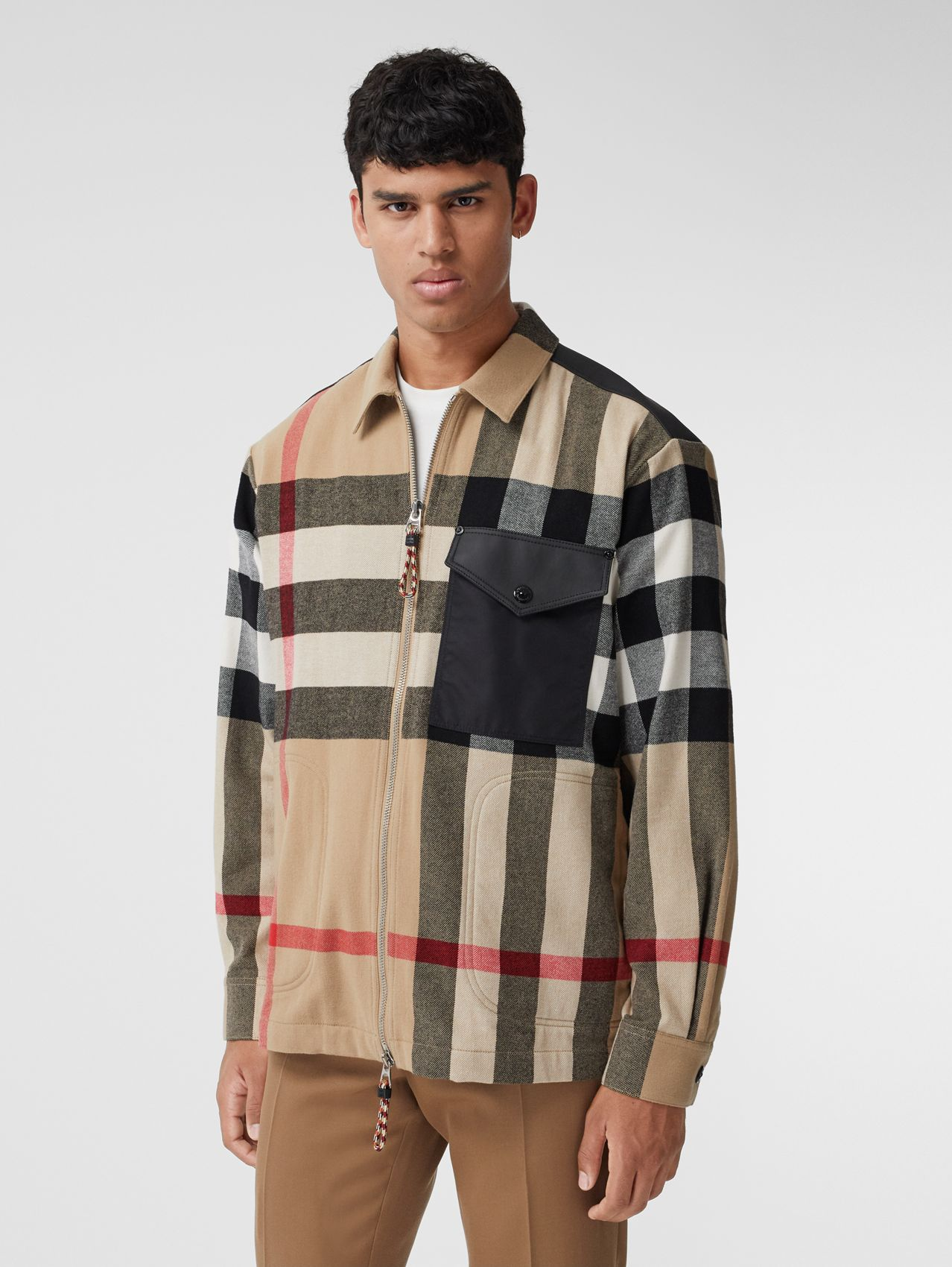 Contrast Panel Check Wool Cotton Shirt in Archive Beige
