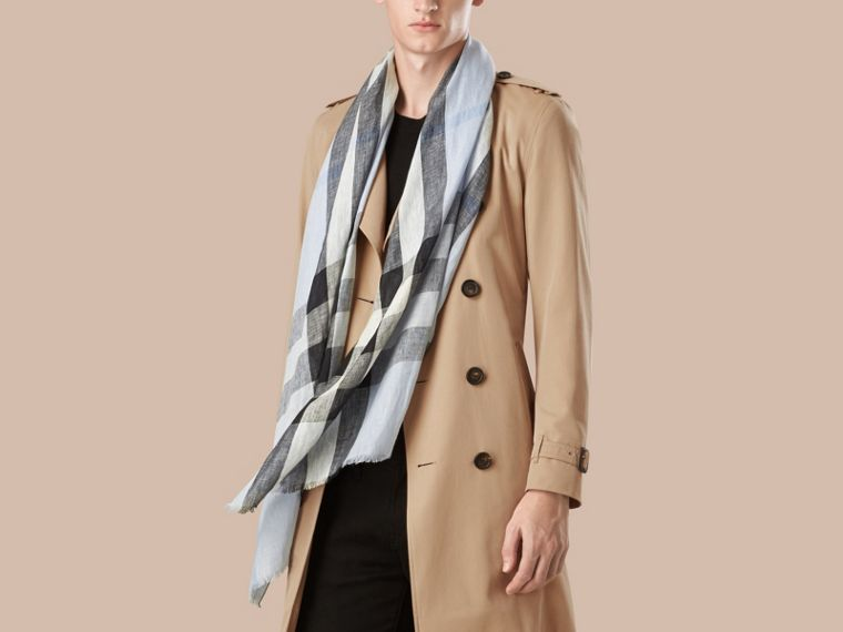 Pale sky blue Check Crinkled Linen Scarf Pale Sky Blue - cell image 1