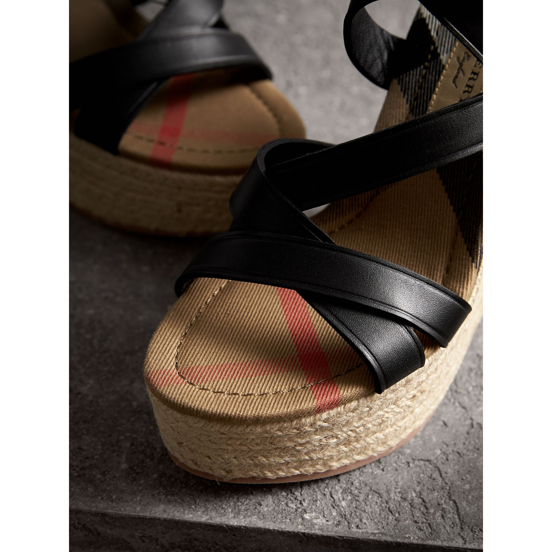 Leather Platform Espadrille Wedge Sandals in Black - Women | Burberry United States - gallery image 2
