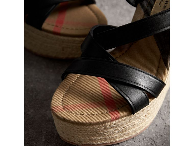 Leather Platform Espadrille Wedge Sandals in Black - Women | Burberry United States - cell image 1