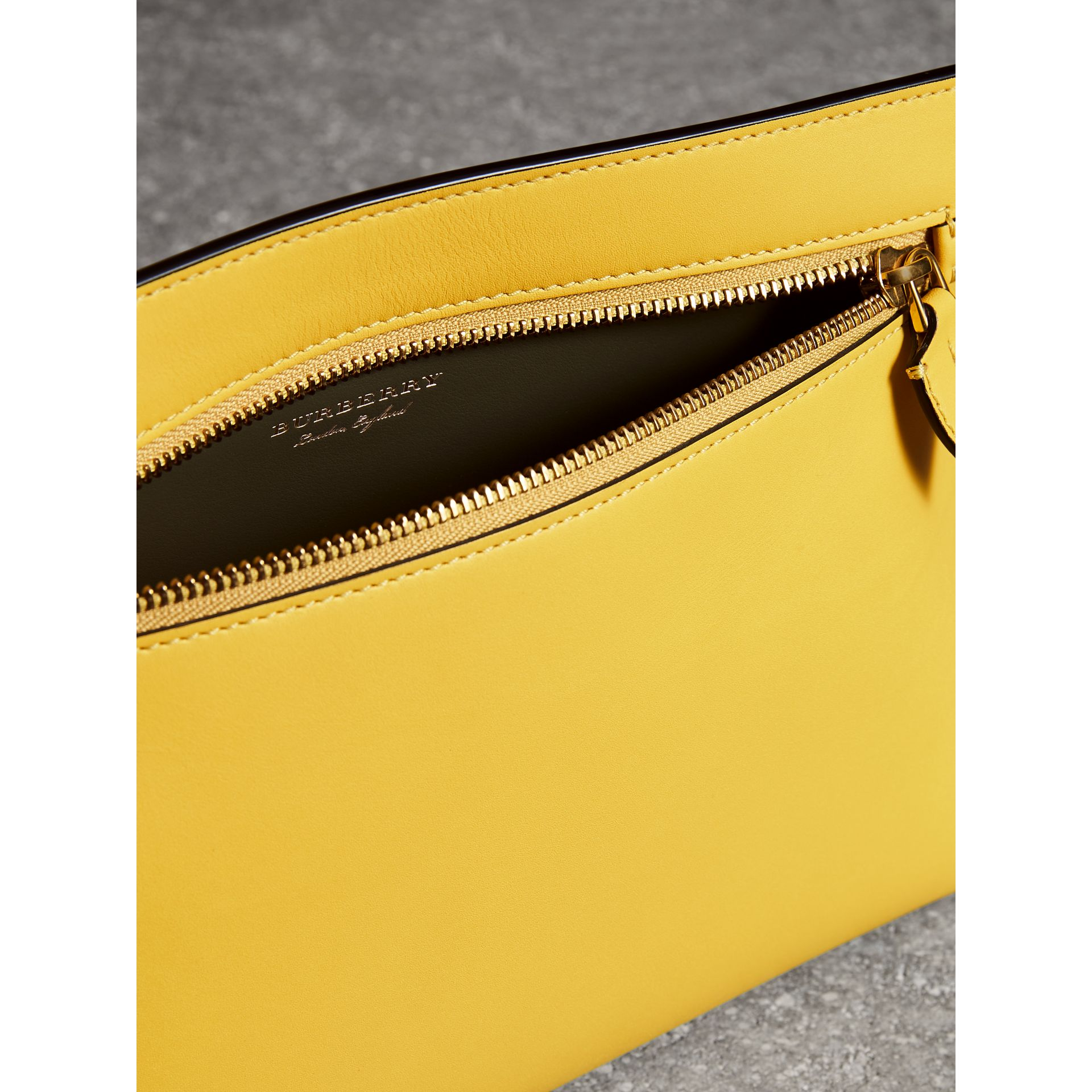 Leather Wristlet Clutch in Bright Larch Yellow - Women | Burberry - gallery image 1