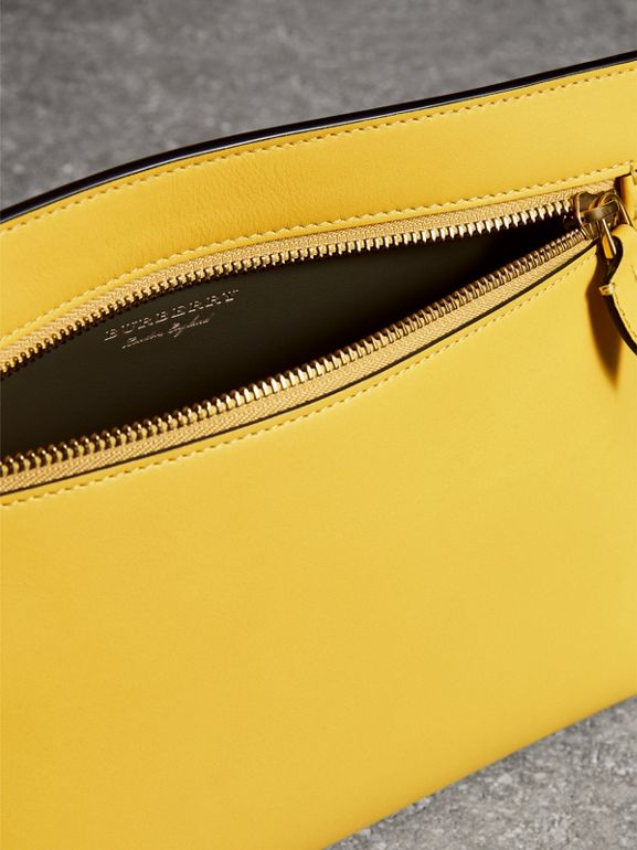 Leather Wristlet Clutch in Bright Larch Yellow - Women | Burberry United Kingdom - cell image 1