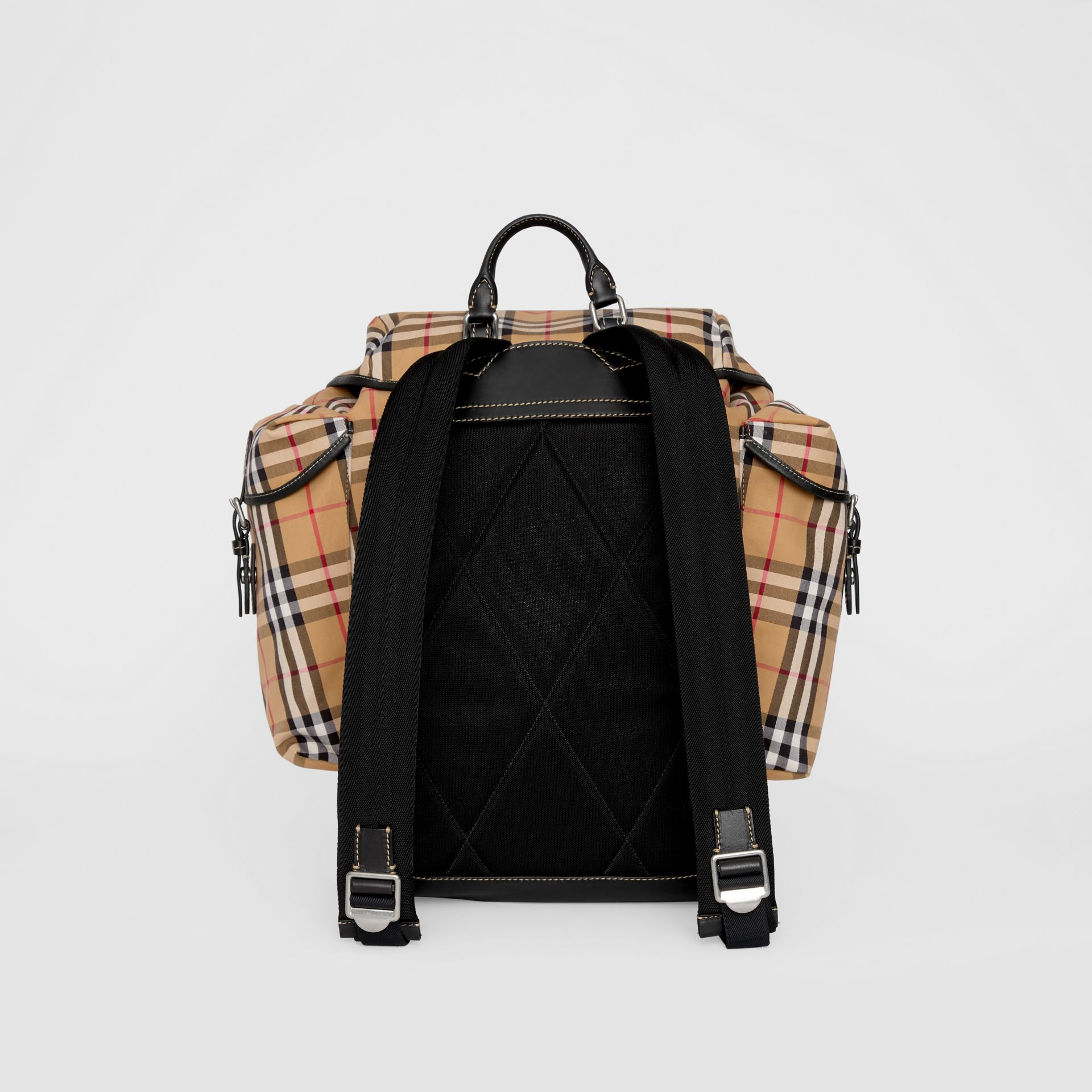 Vintage Check and Leather Backpack in Clementine - Men | Burberry - gallery image 7