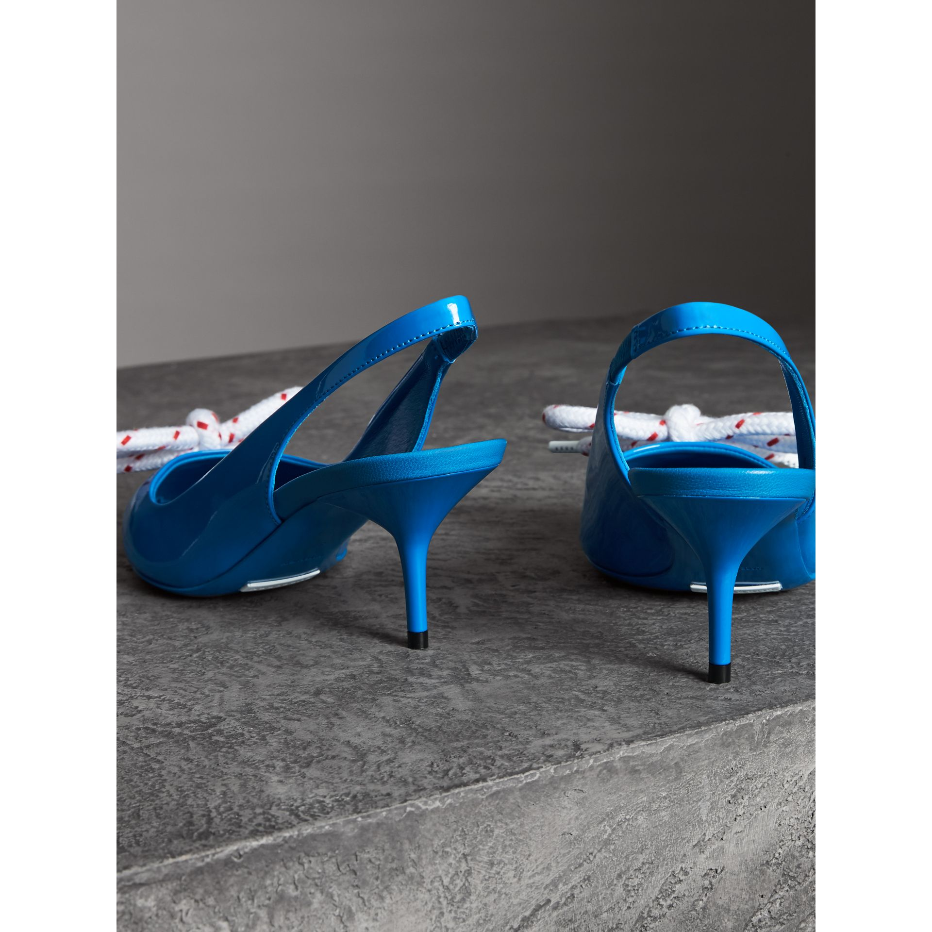 Rope Detail Patent Leather Slingback Pumps in Blue Azure - Women | Burberry Australia - gallery image 3