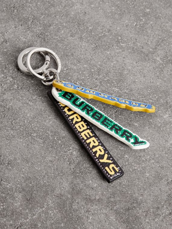 Tag Print Leather Key Chain in Multicolour