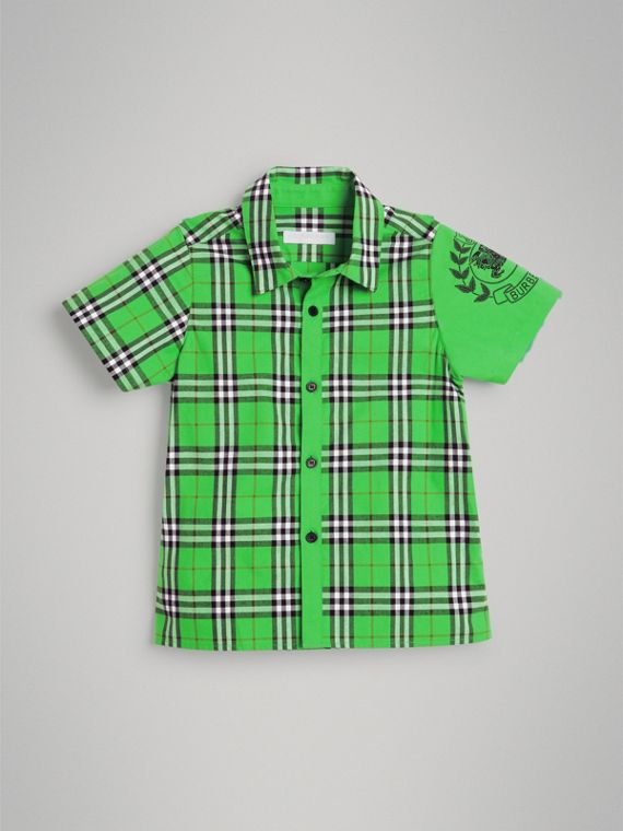 Short-sleeve Archive Logo Detail Check Cotton Shirt in Bright Grass Green
