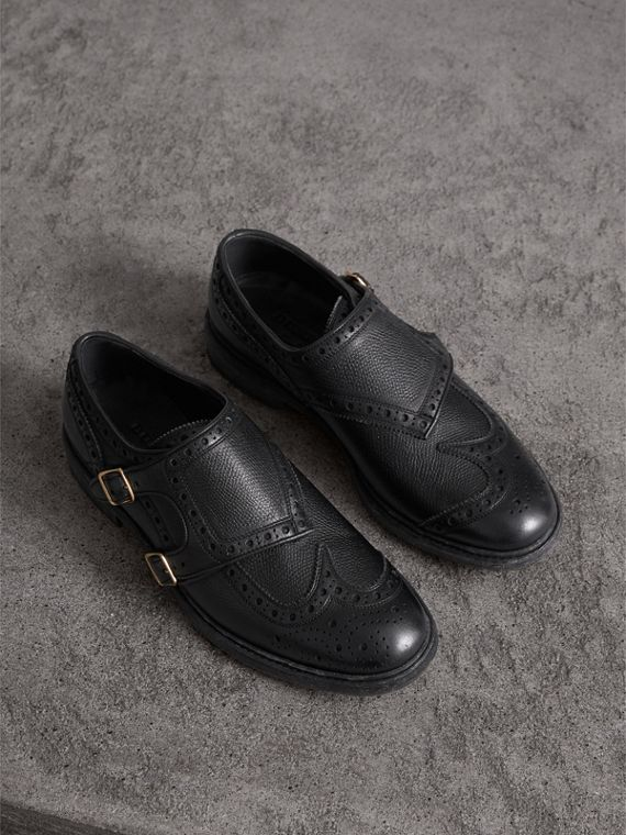 Brogue Detail Textured Leather Monk Shoes in Black