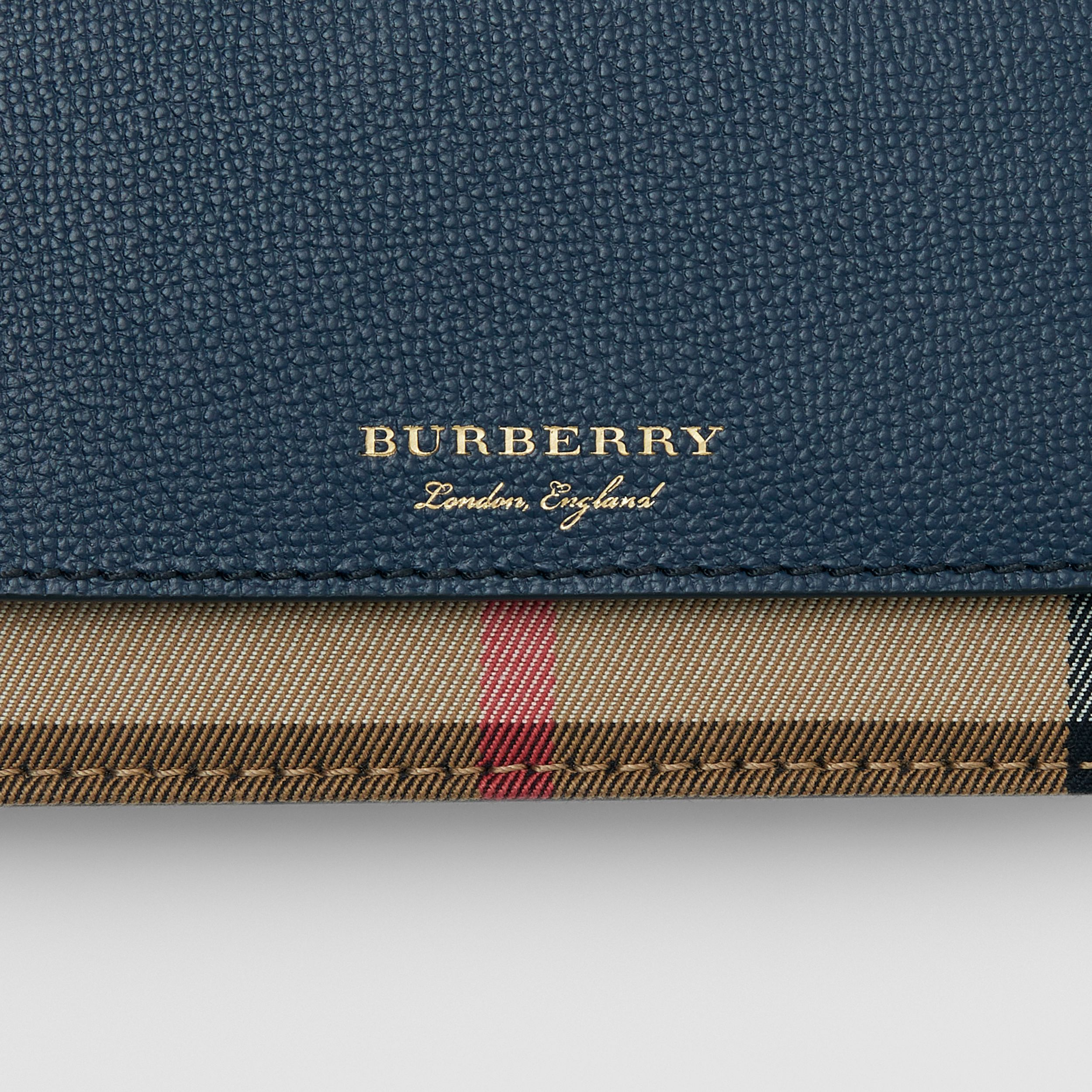 Small Leather and House Check Crossbody Bag in Ink Blue - Women | Burberry - 2