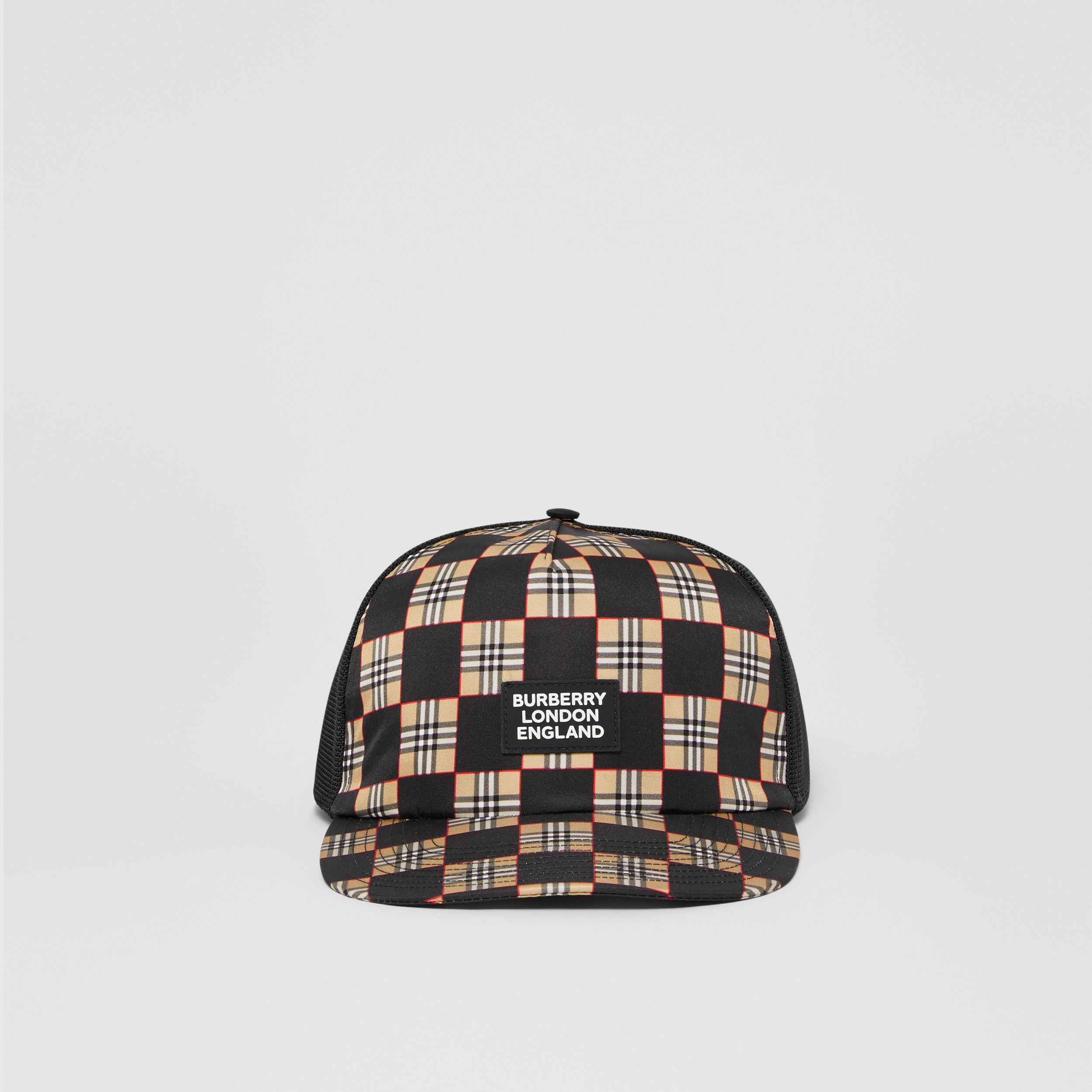 Chequer ECONYL® and Mesh Baseball Cap in Black/archive Beige | Burberry - 1
