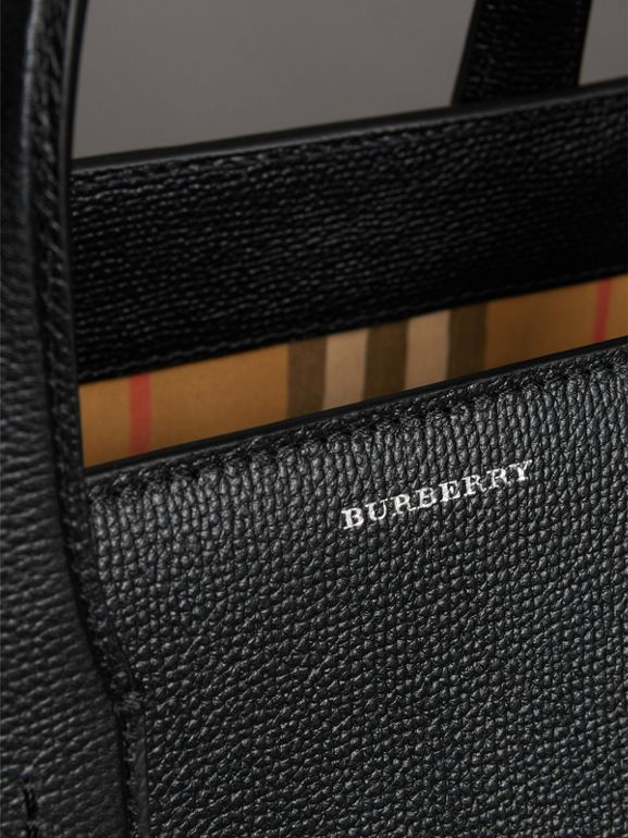 The Medium Banner in Leather and Vintage Check in Black - Women | Burberry - cell image 1